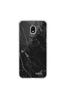 Coque samsung galaxy j3 2017 transparente marbre noir tendance evetane