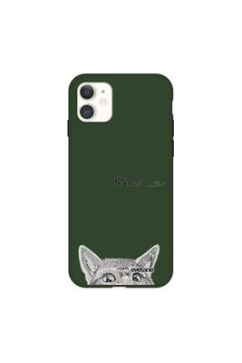 Coque iphone 11 silicone liquide douce vert kaki chat miaou evetane.