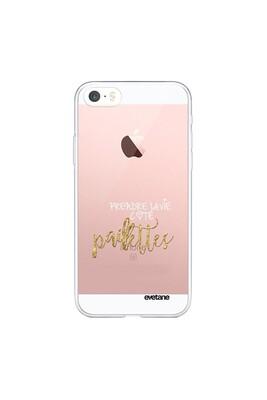 Coque iphone 5/5s/se souple transparente côté paillettes motif ecriture tendance evetane