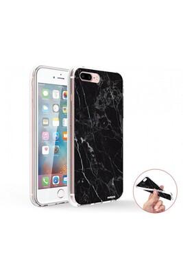 Coque iphone 7 plus / 8 plus 360 intégrale transparente marbre noir tendance evetane