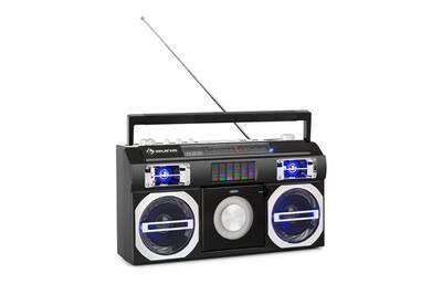 Chaine HiFi Auna Oldschool lecteur rétro années 80 cd bt usb mp3 fm antenne  télescopique batterie noir | Darty