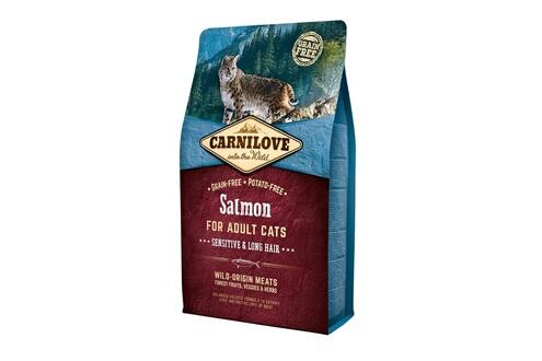 Croquettes carnilove pour chat adult à poils longs au saumon - 6kg