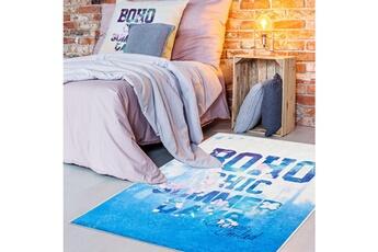 Tapis enfant Camps Tapis enfant 120x160 cm rectangulaire boho camps bleu chambre adapté au chauffage par le sol