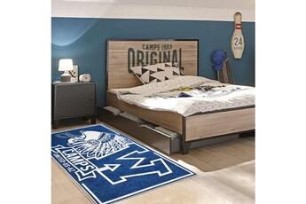 Tapis enfant Camps Tapis enfant 120x160 cm rectangulaire indian camps bleu chambre adapté au chauffage par le sol