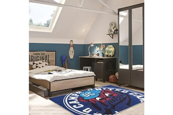 Tapis enfant Camps Tapis enfant 120x160 cm rectangulaire uc bear camps bleu chambre adapté au chauffage par le sol