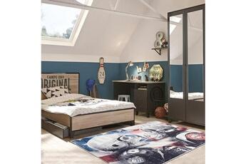 Tapis enfant Camps Tapis enfant 60x90 cm rectangulaire skulls camps gris chambre adapté au chauffage par le sol