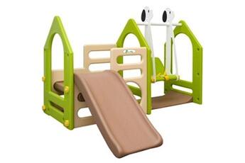 Aire de jeux Little Tom Portique pour enfants de 1-4 ans avec toboggan parois d'escalade