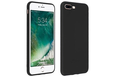 Forcell coque iphone 7 plus , iphone 8 plus coque soft touch silicone gel - noir