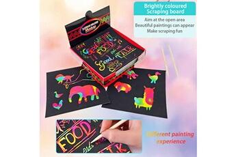 Jouets éducatifs GENERIQUE Scratch notes set scratch doodle art with 100 holographic rainbow paper,2 stylus