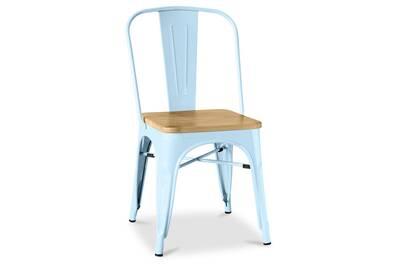 chaise style tolix carree en bois metal bleu clair