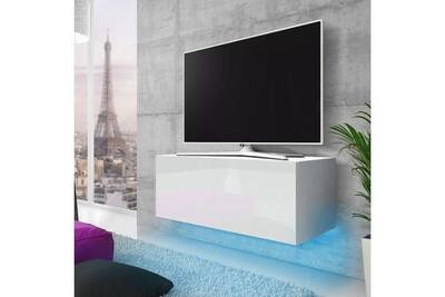 meuble tv suspendu lana 100 cm blanc mat blanc brillant eclairage led bleu style moderne