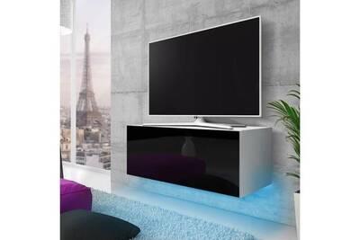 meuble tv suspendu lana 100 cm blanc mat noir brillant eclairage led bleu style moderne