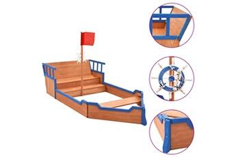 Bac à sable Vidaxl Bac à sable bateau pirate bois de sapin 190x94,5x136 cm