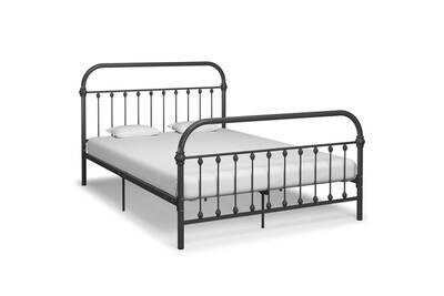 cadre de lit gris metal 140 x 200 cm