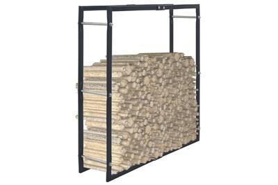 Outil pour couper et débiter le bois GENERIQUE Accessoires pour cheminées et poêles à bois serie port moresby portant de bois de chauffage noir 100x25x100 cm acier