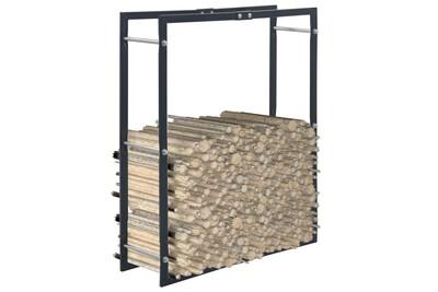 Outil pour couper et débiter le bois GENERIQUE Accessoires pour cheminées et poêles à bois ensemble panama portant de bois de chauffage noir 80x25x100 cm acier
