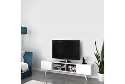Meuble Tv Home Mania Homemania Meuble Tv Dore Moderne Avec Portes Etageres Pour Salon Blanc Noyer En Bois 160 X 29 7 X 40 6 Cm Darty