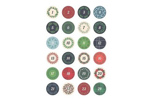 Artemio Feuille de décalcomanie pour textile ronds calendrier de l'avent