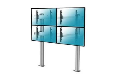Support Mural Pour Ecran Plat Kimex Pied Tv Mur D 39 Image Pour 4 Ecrans 45 Quot 55 Quot A Visser Au Sol Darty