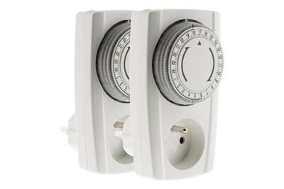 Thermostat et programmateur de chauffage Otax Lot de 2 prises programmables mécaniques 24h - noir & blanc