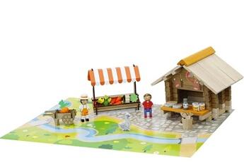 Tapis de jeu et tapis de sol JeuJura Jeu de construction - place du marché - 80 pièces - bois
