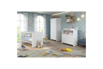 Armoire bébé Marque Generique Chambre complete bebe niko chambre bébé complete : lit 70*140cm + commode + armoire - blanc