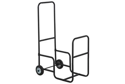 Abri à bûche HOMCOM Chariot porte bûches - chariot à bois de chauffage en métal - 2 roues - panier roulant pour bûches à bois noir