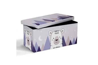 Coffre à jouets Id Market Banc coffre de rangement ours 76x38x38 cm