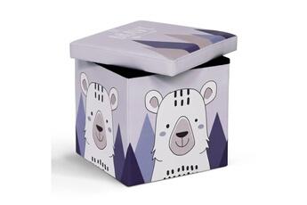 Coffre à jouets Id Market Banc coffre de rangement ours 38x38x38 cm