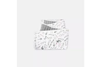 Linge de lit bébé Hucoco Dreamer | couverture bébé/enfant hypoallergénique | matériau : coton/velvet | motif : végétal | dimensions : 100x150 cm | blanc/vert