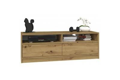 aldona meuble tv salon sejour design minimaliste dimensions 45x120x40 cm design moderne porte avec systeme tip on chene