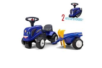 Porteur Falk Porteur tracteur new holland avec remorque - pelle et râteau - bleu