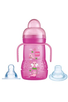 Biberon MAM Mam trainer+ 220 ml - biberon et tasse d'apprentissage 2-en-1 (4+ mois - couleur: rose)