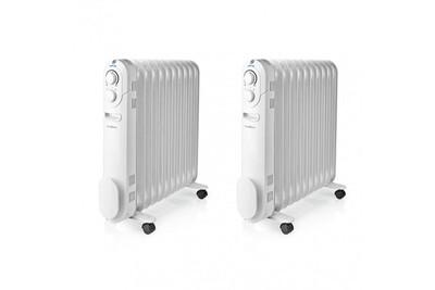 Radiateur bain d'huile Nedis Lot 2 x radiateur à huile mobile 2200w blanc chauffage d'appoint