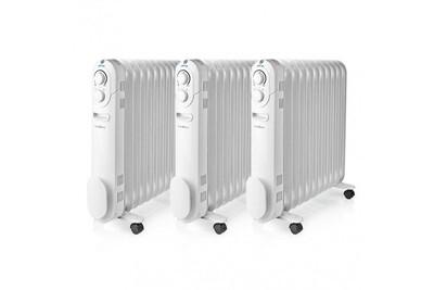 Radiateur bain d'huile Nedis Lot 3 x radiateur à huile mobile 2200w chauffage d'appoint blanc