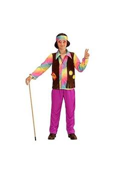 Déguisements Widmann Widmann 73348-les enfants costume hippie les jeunes, t-shirt, angenähte gilet, pantalon et bandeau, violet