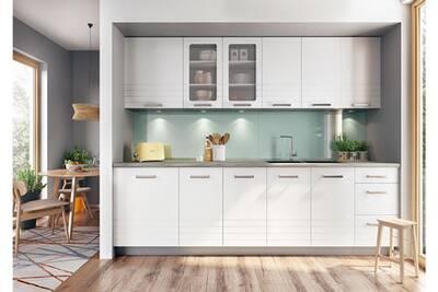 onyx cuisine complete modulaire lineaire l 260cm 8 pcs ensemble armoires meubles cuisine finition mat poignees metal blanc gris