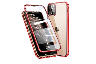 Coque en métal cadre de montage magnétique complet couvrant rouge pour votre apple iphone 11 pro max 6.5 pouces