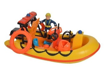 Figurines personnages SIMBA Simba set de jeu pompier sam avec bateau 19 cm jaune/orange