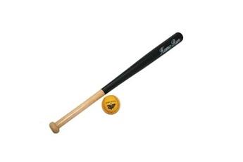 Jeux en famille GENERIQUE Batte de baseball 70 cm en bois avec balle 7 cm junior pour enfant 6 ans +.