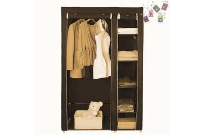 Armoire Yaqida Armoire Penderie Chambre Meuble Rangement Pas Cher Cafe En Tissu Grande Capacite 110 45 178cm Darty