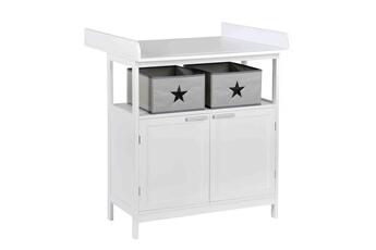 Table à langer ROBA Meuble à langer bébé en bois blanc 2 portes + 2 boîtes de rangement hamburg