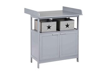 Table à langer ROBA Meuble à langer bébé en bois gris 2 portes + 2 boîtes de rangement hamburg