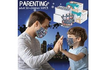 Masques AUCUNE Nouveau masque jetable parent-enfant de noël 50pcs adulte + enfant b