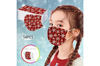 Masques AUCUNE 50pc enfants plaid snow imprimé masque enfant jetable à trois couche anti-poussière v