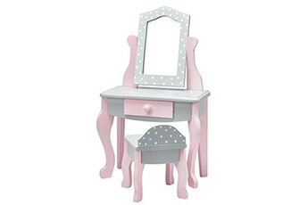 Accessoires de poupées Olivia's Meuble Olivias little world - princess 18 inch doll furniture   vanity table and chair set (grey polka dots)   fits american girls, our generation and more
