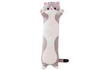 Peluches AUCUNE Peluche long cotton buddies mignon chat poupée en jouet doux oreiller de couchage -gris