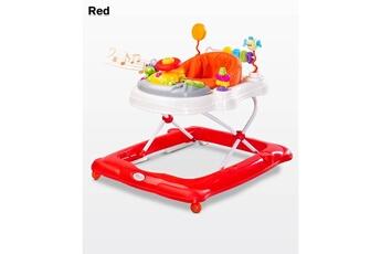 Trotteur Hucoco Trotteur bébé enfant | dès 6 mois | jusqu'à 12 kg | plateau d'éveil électronique | siège pivotant | sons lumières musique | rouge
