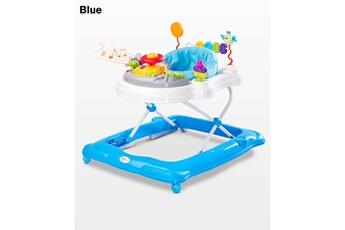 Trotteur Hucoco Trotteur bébé enfant | dès 6 mois | jusqu'à 12 kg | plateau d'éveil électronique | siège pivotant | sons lumières musique | bleue