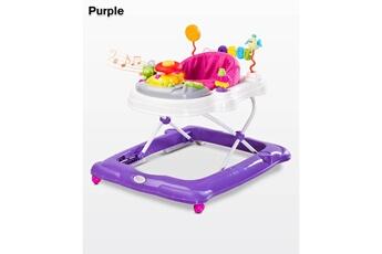 Trotteur Hucoco Trotteur bébé enfant | dès 6 mois | jusqu'à 12 kg | plateau d'éveil électronique | siège pivotant | sons lumières musique | violet